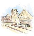 drawing color pyramids and sphinx in giza egypt vector image vector image