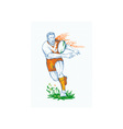 Rugby player running and passing ball vector image