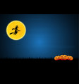 halloween witch on broom moon pumpkin graveyard vector image