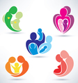 abstract family icons set vector image vector image