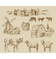 farm hand drawn vector image