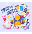 colorful of yellow backpack pile of books vector image