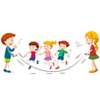 Kids skipping rope in team vector image