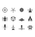 Silhouette future spacecraft icons vector image