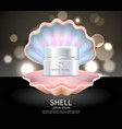 white pearl cream in seashell commercial poster vector image