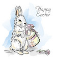 easter card with rabbit with box and rose vector image vector image