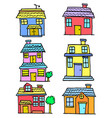 doodle of house style various set vector image