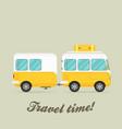 Caravan trailer end car landscape vector image