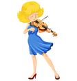 A pretty girl playing the violin vector image vector image