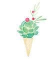 Watercolor Flower Bouquet Cone Vase Set vector image vector image