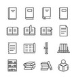 books line icon set vector image