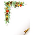 Christmas fir tree with cones vector image