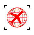 globe and plane travel sign red icon vector image