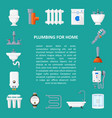 plumbing banner in flat style vector image