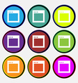 Simple Browser window icon sign Nine multi-colored vector image
