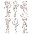 Simple sketches of doctors vector image
