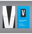 business card letter V vector image vector image
