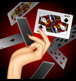 hand with a playing card vector image