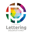 Logo Abstract Lettering P Rainbow Alphabet Icon vector image