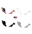 Malaysia country black silhouette and with flag on vector image