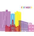 Fort Worth skyline pop vector image