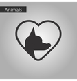black and white style icon dog heart vector image