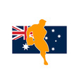 rugby running player flag of australia vector image vector image