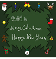 Merry Christmas and Happy New Year 2016 - Tree vector image