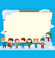 border template with children in winter vector image