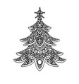 christmas tree coloring page vector image