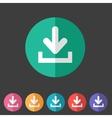 Download upload flat icon button set load symbol vector image