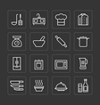flat icons set of kitchen cooking tools vector image