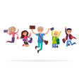 group of jumping students isolated vector image