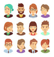 happy characters young man and woman vector image