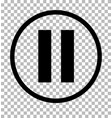 pause sign dark gray icon on transparent vector image