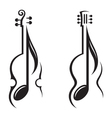 violin guitar and note vector image