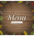 Wooden Background With Drawn Vegetables vector image vector image