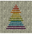 Seamless pattern with knitted christmas tree vector image