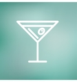 Glass of martini thin line icon vector image