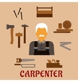 Carpenter with timber and professional tools vector image vector image