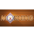 morning word with top view of smiling breakfast vector image