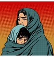 Refugee mother and child migration poverty vector image