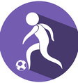 Soccer icon on round badge vector image