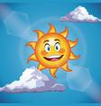 character sun cute face - cartoon in the blue sky vector image