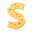 S cheese letter Symbol isolated on white vector image vector image