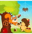 hedgehog gives squirrel mushroom vector image