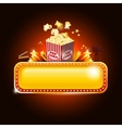 Golden movie theater banner sign with pop corn and vector image vector image