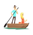 Couple In Wooden Boat vector image