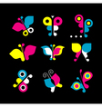butterfly icon set vector image