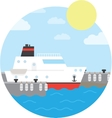 Cruise ship in the port Yacht on the water vector image